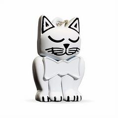 White Kitten Keychain