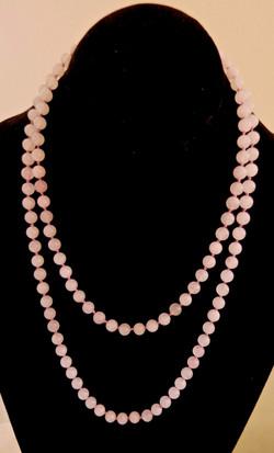 rose quartz knotted strand