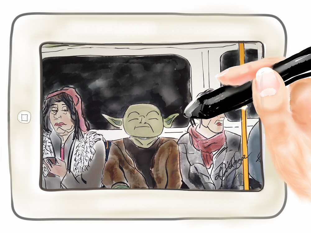 Live drawing on London Tube using Paper by 53 app.