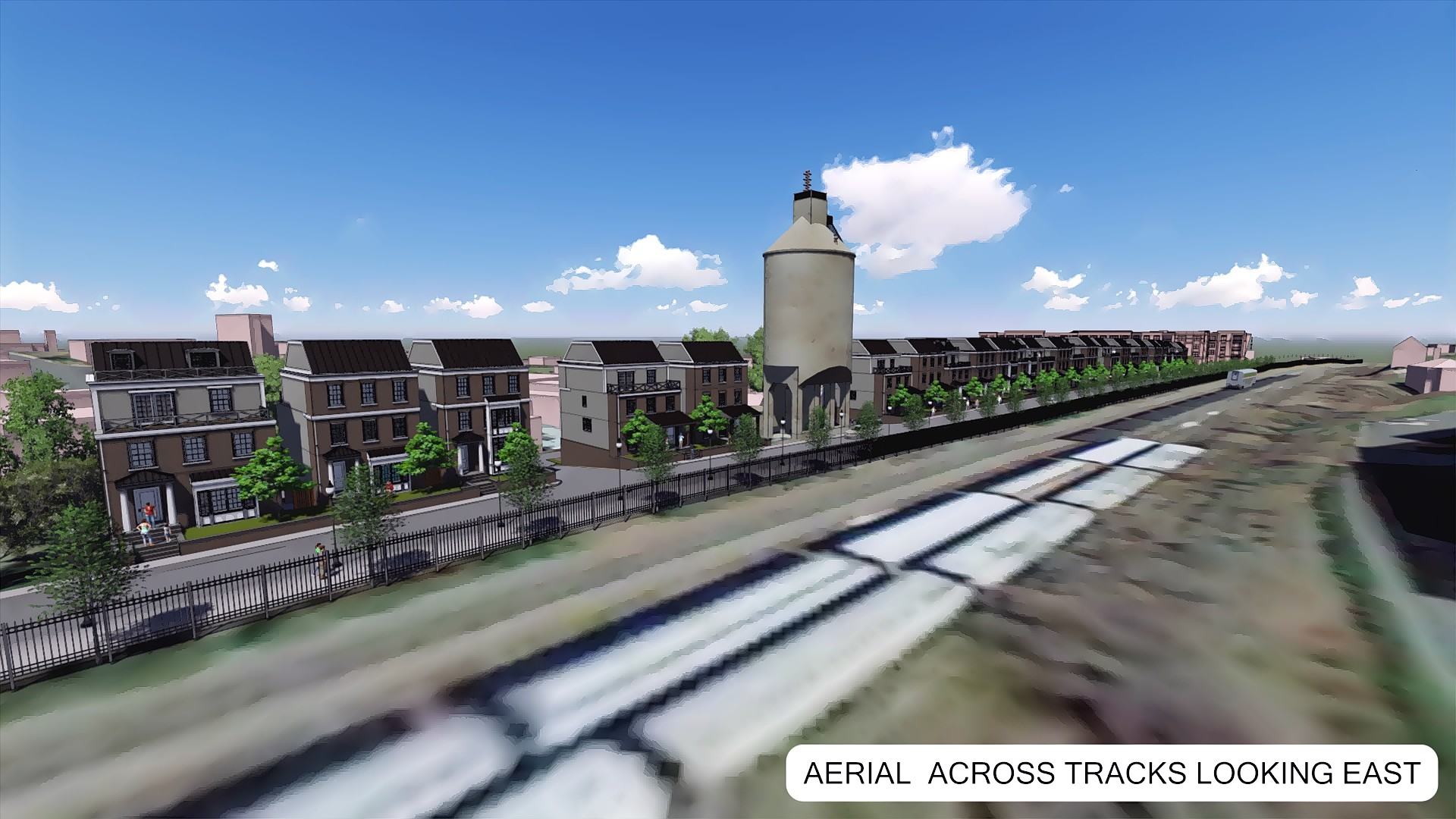Aerial from train tracks