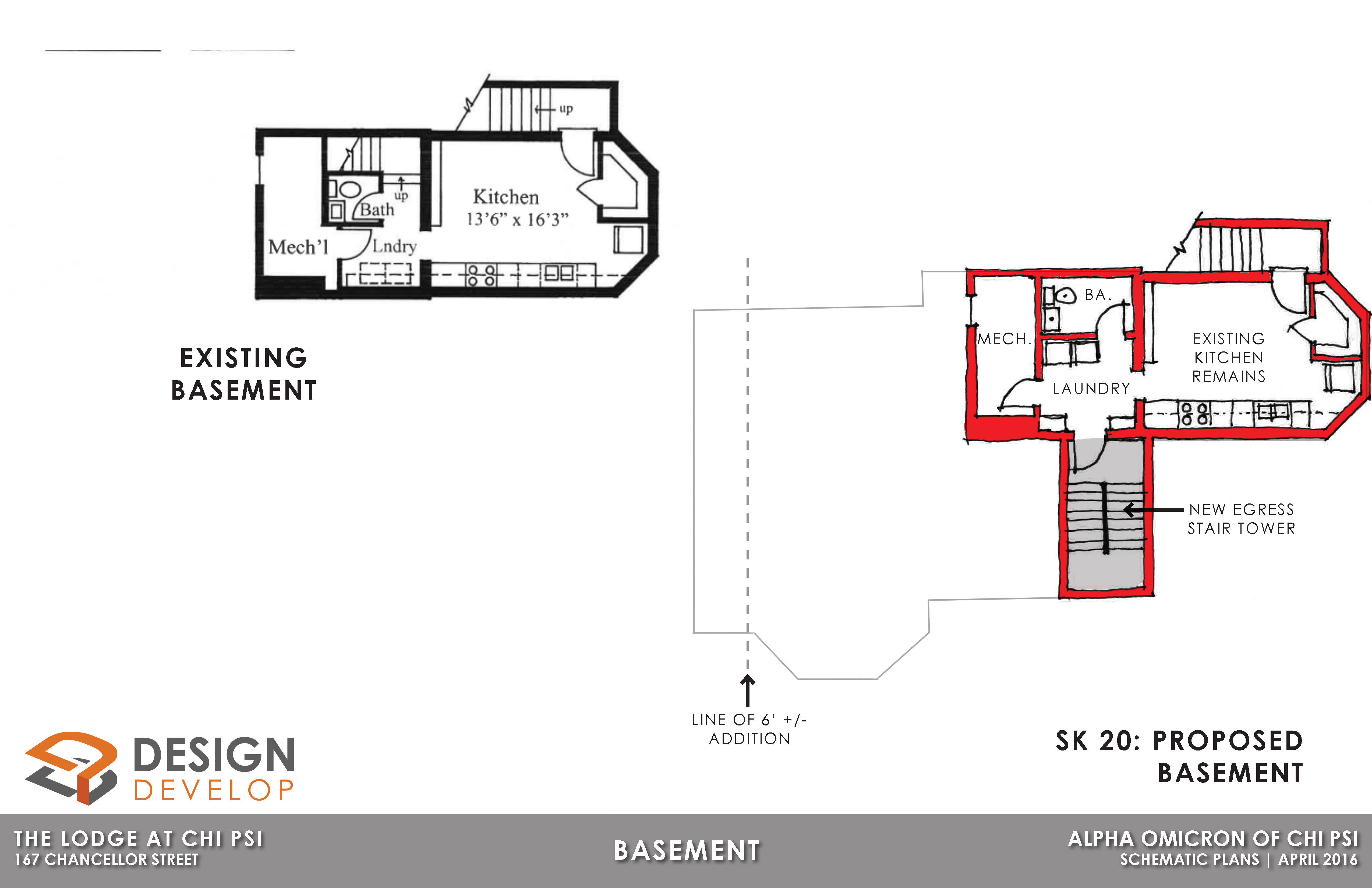 Basement Level Existing and Proposed