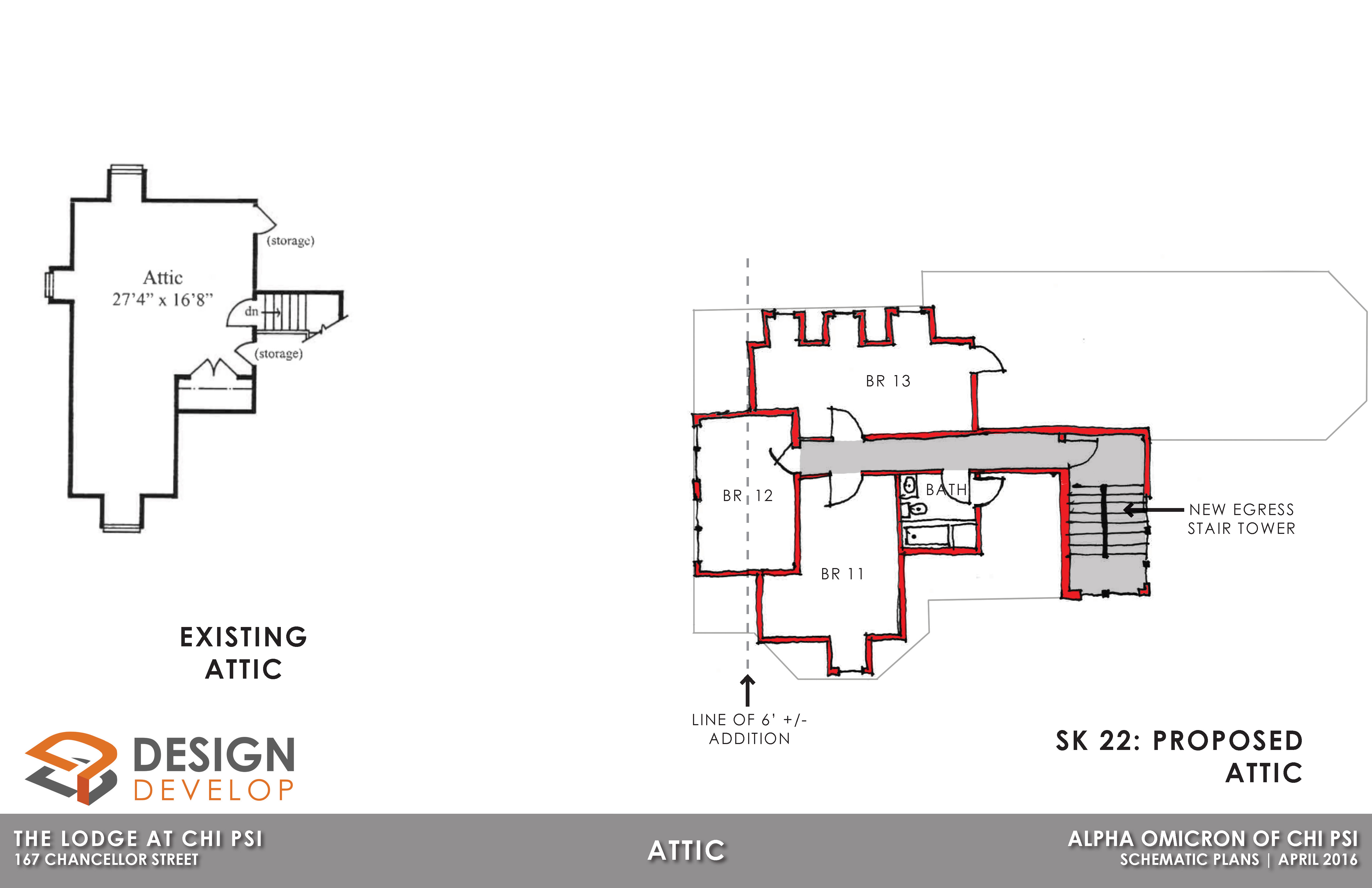 Attic Level Existing and Proposed