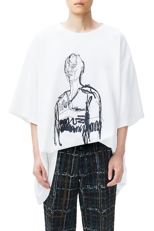 White Oversized Graphic T-shirt (Thick Lines)