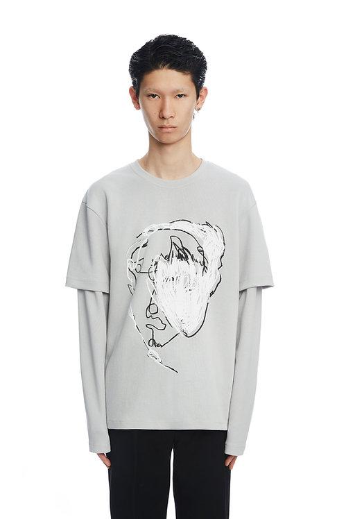 Grey Double Sleeve Sweatshirt