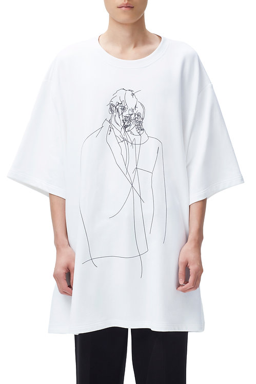 White Oversized Graphic T-shirt (Fine Lines)