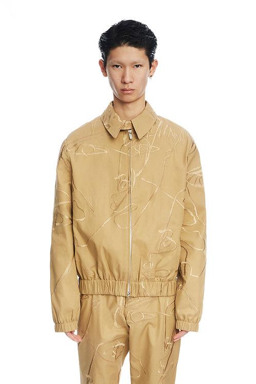 Khaki  Embroidered Jacket
