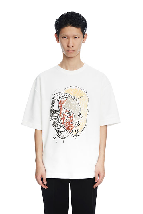 White 'Four Colors Face' Print Shirt