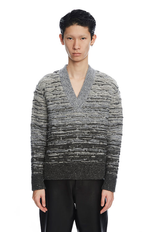 Grey Quilted V-Neck Sweater