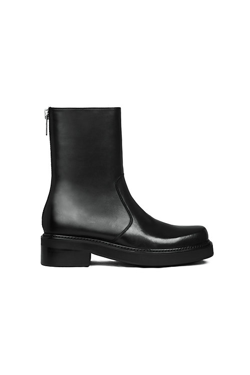 Black Leather Zip-Up Boots