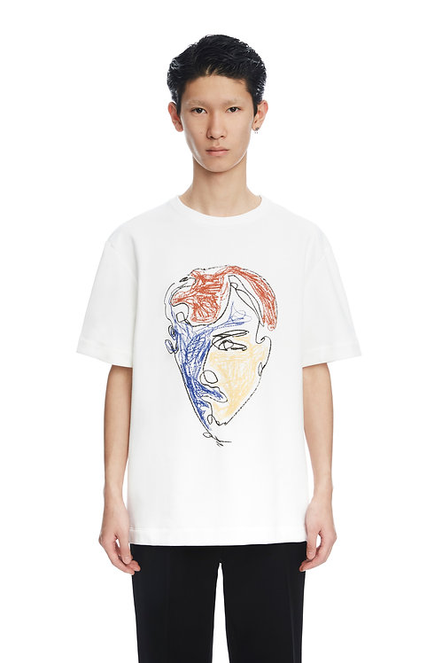 White 'Three Colors Face' Print Shirt