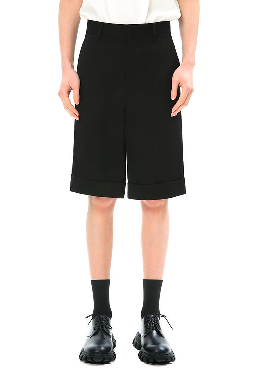 Black Folded Bottom Shorts