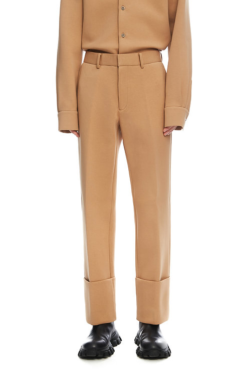 Beige Cropped Trousers With Fold