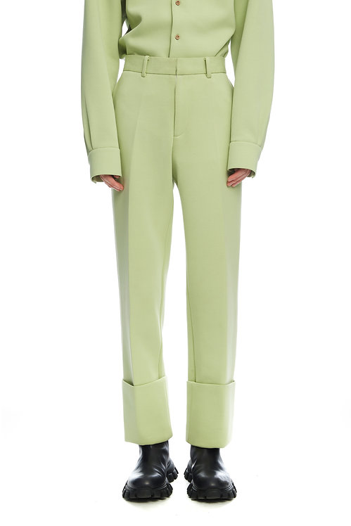 Light Green Cropped Trousers With Fold
