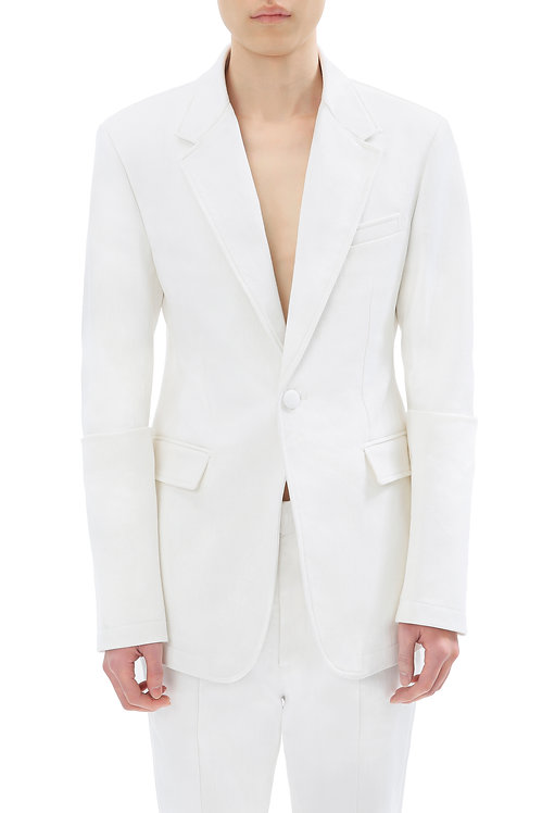 White Denim Blazer With Folded Sleeves