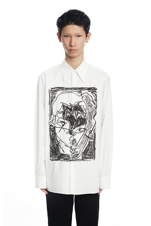 White 'Black Face' Print Shirt