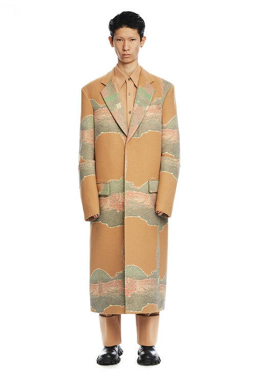 Khaki Jacquard Coat