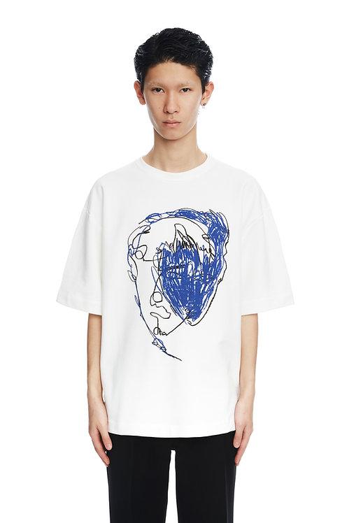 White 'Blue Face' Print Shirt
