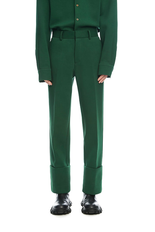 Dark Green Cropped Trousers With Fold