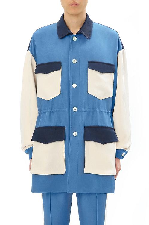 Blue & White Multi-Pocket Coat