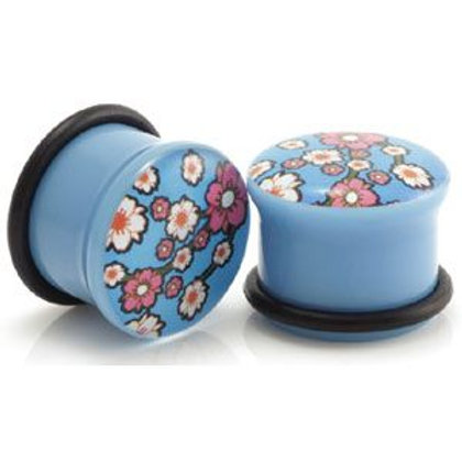 2x Acrylic Blue FLOWER Picture Plugs
