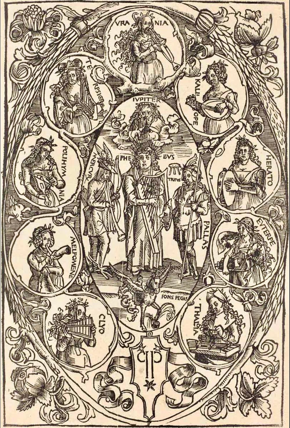 Apolo e as musas, 1502 - Hans Süss von Kulmbach (1485-1522). - Apolo e as musas, 1502. | Xilogravura, dimensões indeterminadas. - National Gallery of Art, Washington, Estados Unidos.