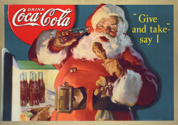 "Haddon Sundblom - ""Give and take, say I"" - Publicidade para The Coca-Cola Company."