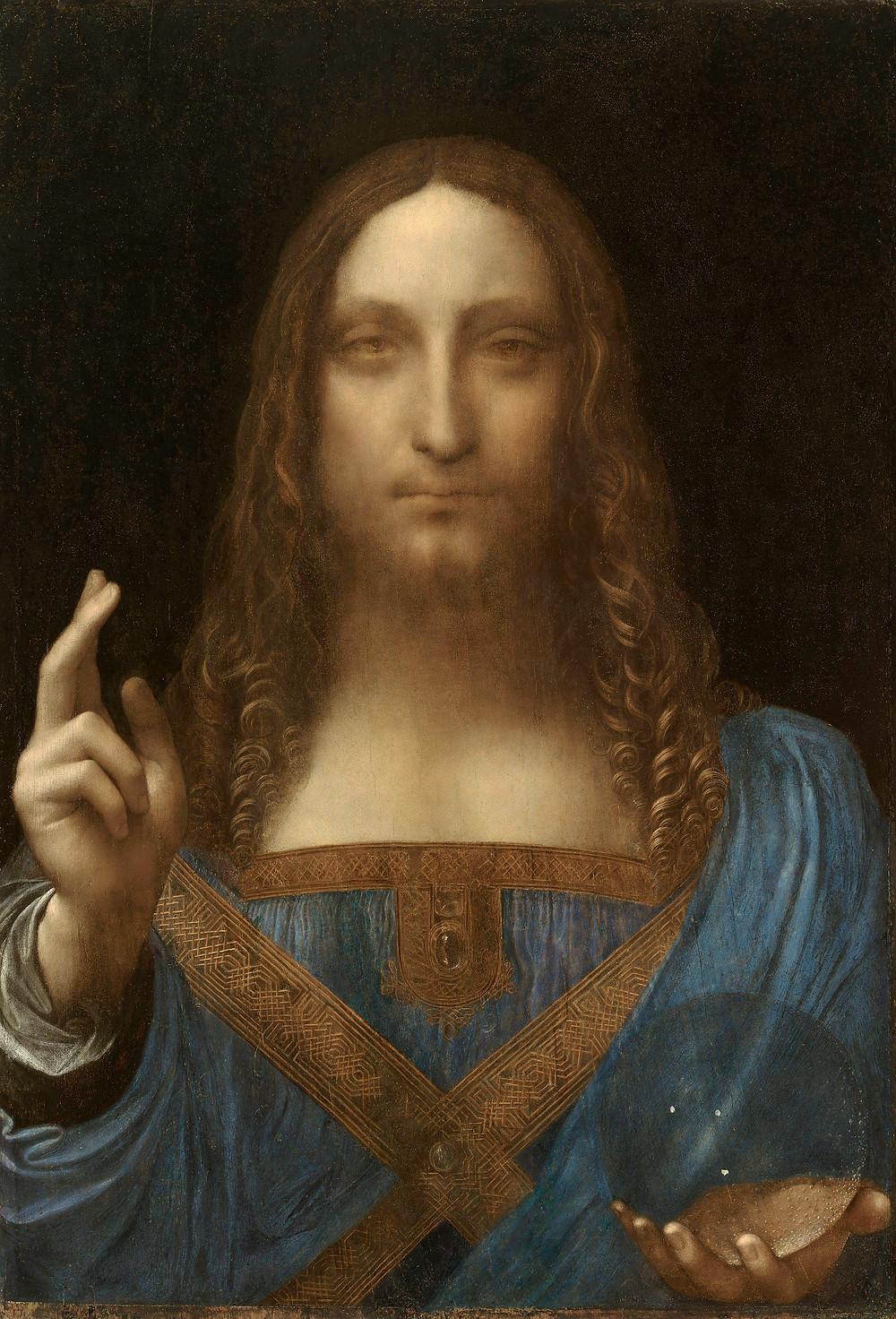 Leonardo da Vinci (1452-1519). - Salvator Mundi, c. 1500. | Óleo sobre tela, 65,6x45,4 cm. - Coleção particular.
