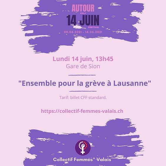 Ensemble pour la grève à Lausanne dans un wagon féministe!