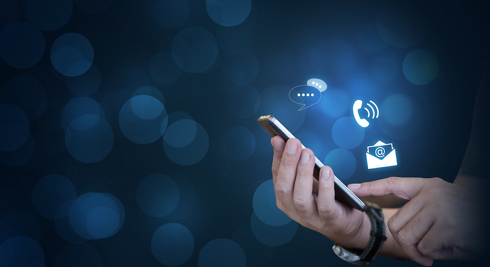 CONTACT US, Hand of a businessman holding a mobile smartphone with the icon. Contact us co