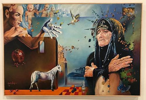 """10. Ishtar - Haydar Alyasiry, Oil (36.5"""" W x 24.5 H, framed)"""