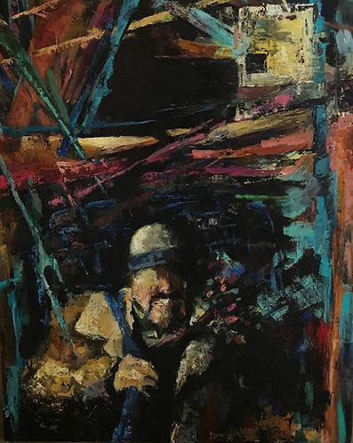 """48. Night Sets Upon Us Now - Mohammad S. Bazzi, Acrylic (24"""" W x 30"""" H)"""
