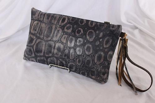 Indigo Leather Wristlet
