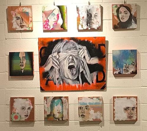 "6. Untitled (Small Panels Each)- Melloh, Mixed Media (12"" W x 12"" H)"