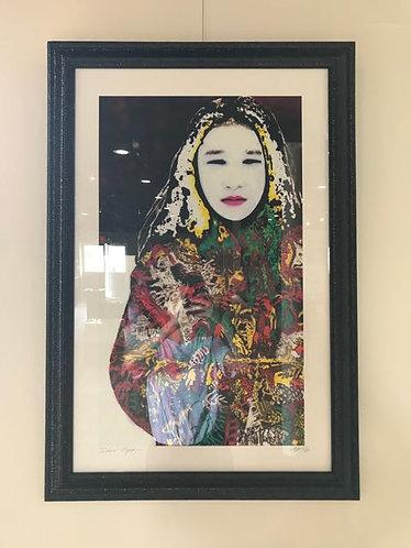 """28. Snow Tiger - Patricia Izzo, Multi Media Painting (25"""" W x 36.5"""" H, framed)"""