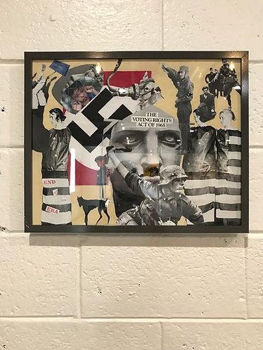 "22. Portrait of America - Carl George, Collage (21"" W x 17"" H, framed)"