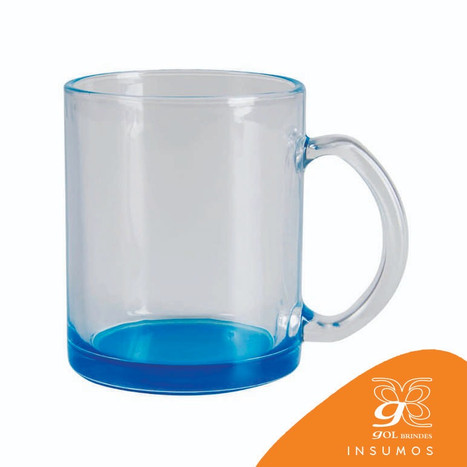 Caneca vidro fundo azul 300 ml