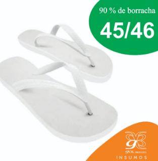 Chinelo de borracha para sublimação, 45/46, branca