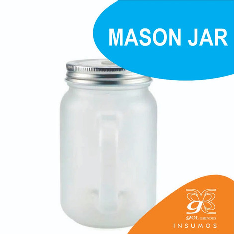 Mason Jar fosco canudo azul 350 ml
