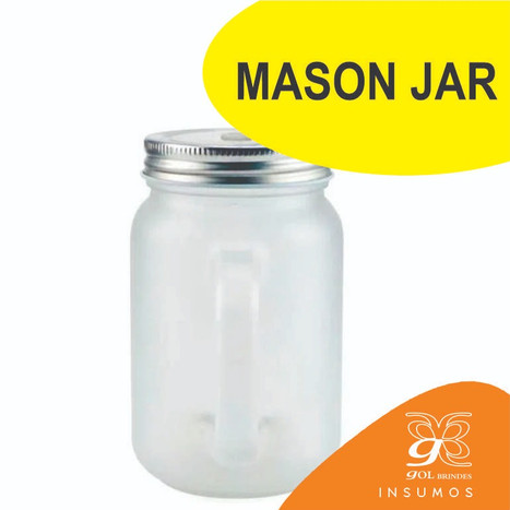 Mason Jar fosco canudo amarelo  350 ml