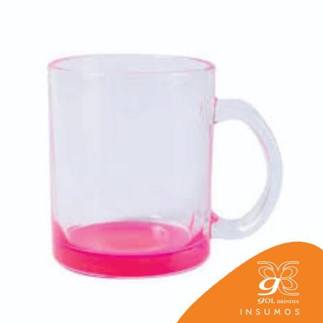 Caneca vidro fundo rosa 300 ml