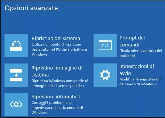 Opzioni avanzate di avvio di Windows 10