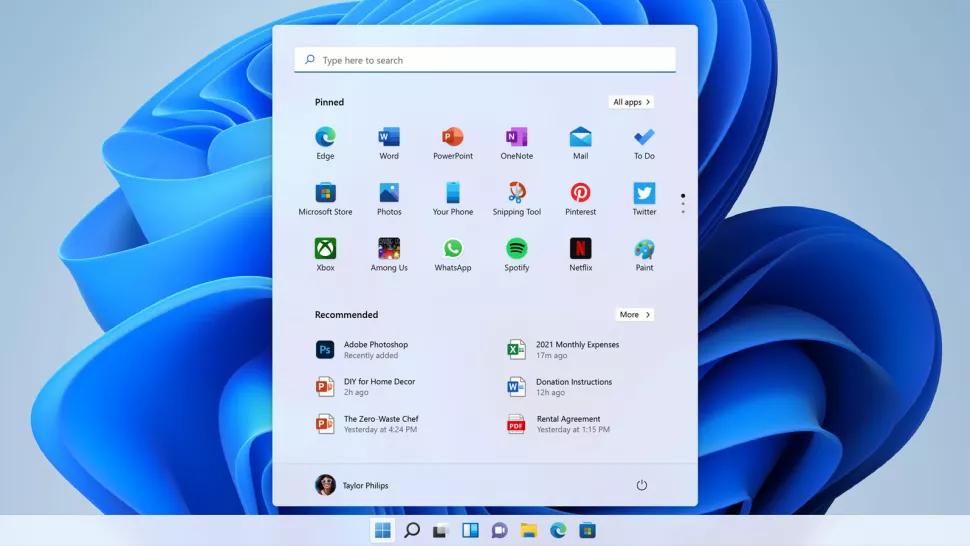 Menu Start di Windows 11