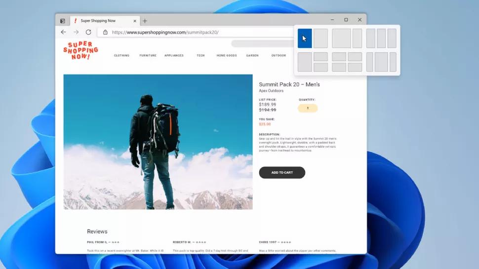 Gli snap layout di Windows 11