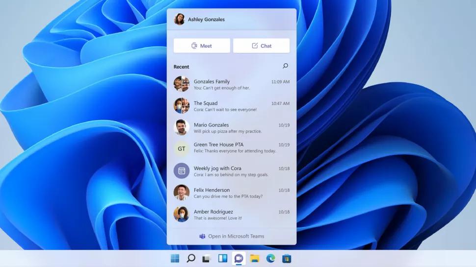Microsoft Teams integrato in Windows 11