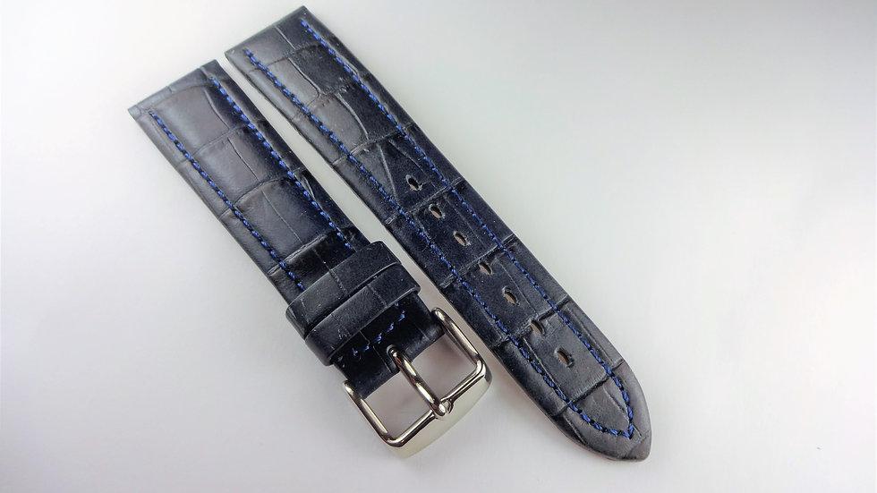 Replacement 20mm Blue Genuine Leather Alligator Grain