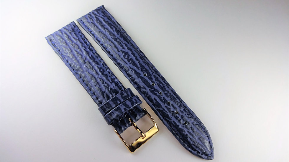 Replacement 20mm Blue Genuine Leather Sharkskin Grain