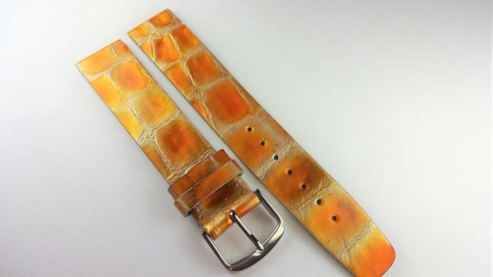 Replacement 18mm Yellow/Orange Genuine Calfskin Alligator Grain