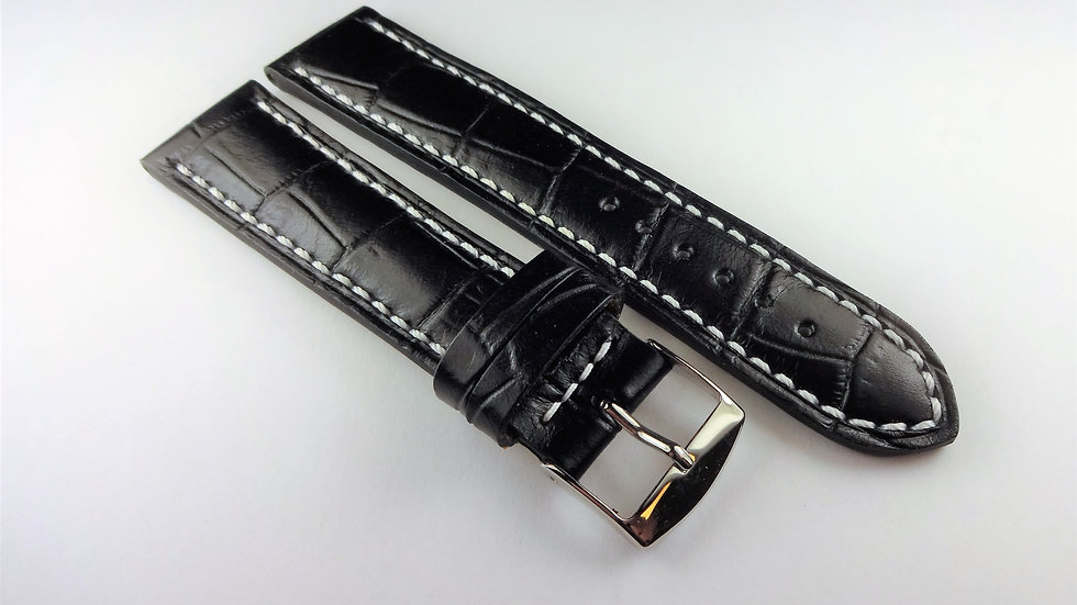 Replacement Calfskin Alligator Grain Leather 20mm Black