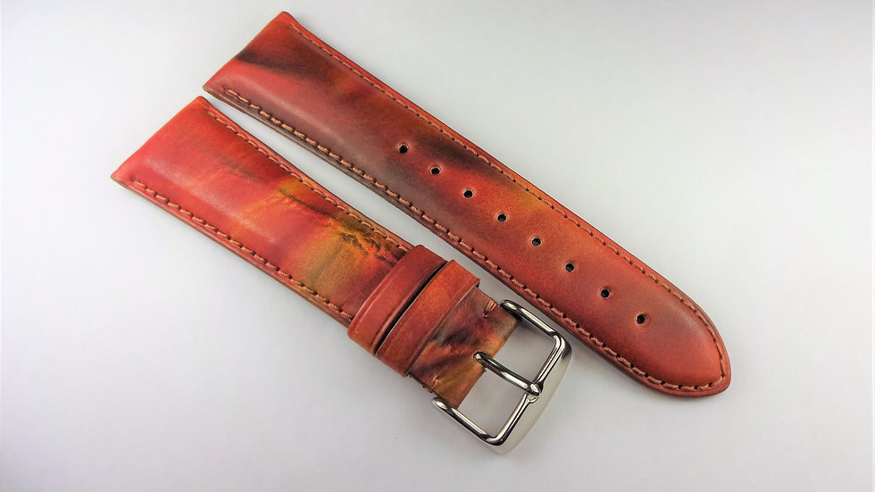 """Replacement 24mm """"Fall Color"""" Brown Genuine Leather"""