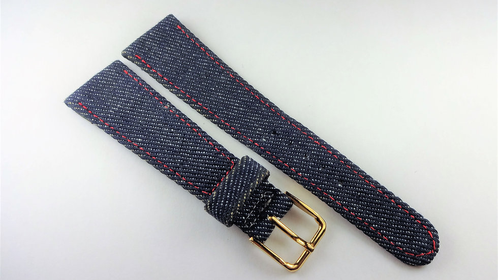 Replacement 22mm Blue Denim With Red Stitching